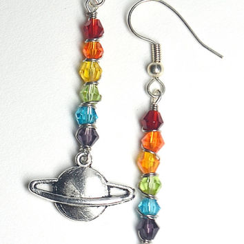 Rainbow Chakra Saturn Charm Dangle Earrings Wirewrapped with Swarovski Crystal