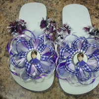 Justin Bieber Handmade Flip Flops - Kids 4 or 5 ( Please not we do custom themes and sizes for all)