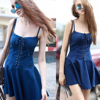 Denim Spaghetti Strap Slim Women's Fashion Dress [11335912911]