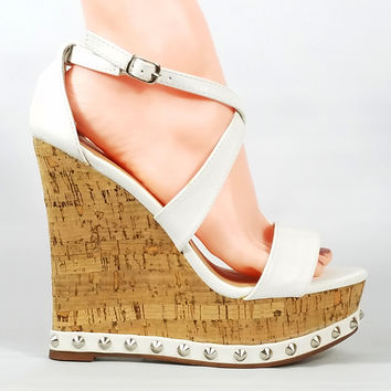 """Cork Wrapped Wedge White Upper / Trim With Studs 5"""" High Heels"""