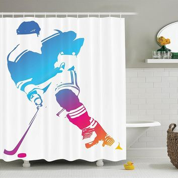 Colorful Man Figure Silhouette of a Hockey Player Athlete Racing Team Design, Polyester Fabric Bathroom Shower Curtain