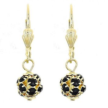 Gold Layered 5.120.023 Dangle Earring, Ball Design, with Black Cubic Zirconia, Polished Finish, Gold Tone