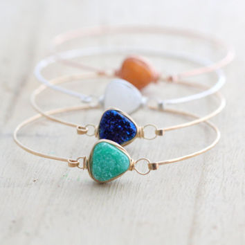 Druzy Bezel Bracelet, Wire Wrapped Bangle Gold, Rose Gold, Sterling Silver, Mint, Blue, White, Rust Orange, Stackable