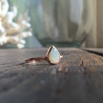 Opal Ring, Teardrop Opal Ring, Pear shaped Opal Ring, Gold Opal Ring, Opal Engagement Ring, Opal Bezel Ring, Engagement Ring, Valentines Day