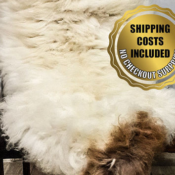XXXL Genuine Ivory-Brown Sheepskin Rug For Cosy Scandinavian Style Home Decoration // 100%Naturel Very Long Hair Lambskin Pelt Throw Carpet