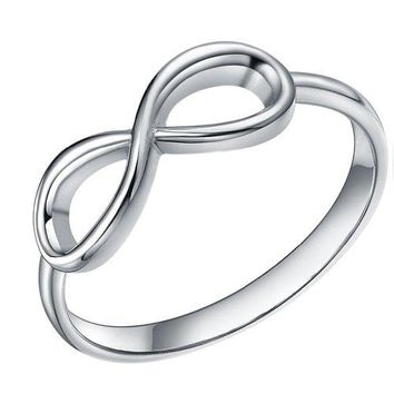 SOMEN TUNGSTEN 925 Sterling Silver Ring Infinity Knot Rings Eternity Wedding Band Size 411