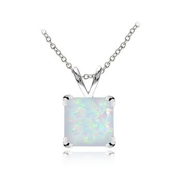 Sterling Silver Created White Opal 7mm Square Solitaire Necklace