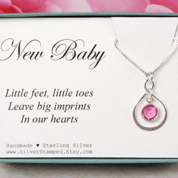 New baby gift birthstone necklace sterling silver infinity necklace, baby shower gift for mom, little feet little toes, gifts under 40