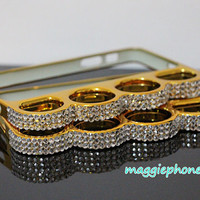 golden brass knuckle iphone 4 bling case, iphone 4s case, knuckle iphone 5 case,iphone 5s case,rhinestone knuckle case for iphone,samsung
