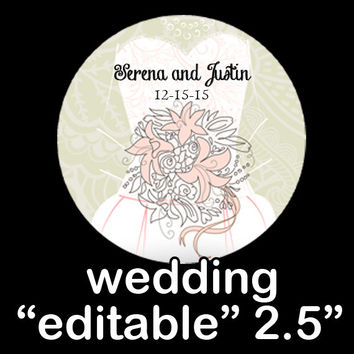 "Wedding Lace ""EDITABLE"" ROUND STICKER Instant Download  -Wedding Favor Labels - Editable Product Labels -Scrapbooking-Bridal Favor Bags"