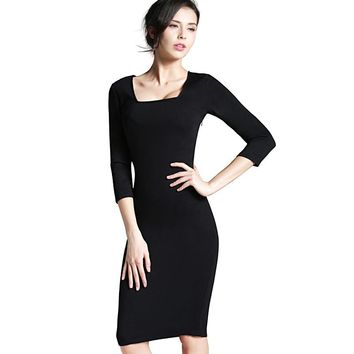 Nice-forever Casual Work Vintage dress Office Lady Solid Square Neck V Back 3 4 Sleeve Grid Sheath Slimming Pencil Dress b249
