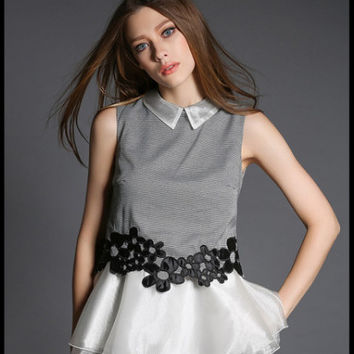 Pointed Flat Collar Mesh Embroidered Sleeveless Peplum Top with Lace Accent