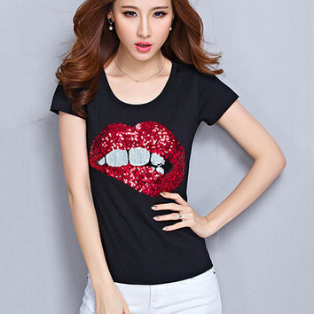 Lips Print Short Sleeve T-shirt