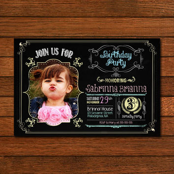 Chalboard Birthday Design Photo Include Invitation