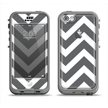 The Sharp Gray & White Chevron Pattern Apple iPhone 5c LifeProof Nuud Case Skin Set