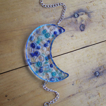 Blue Glass Moon and Star Sun Catcher by Medusa13 on Etsy