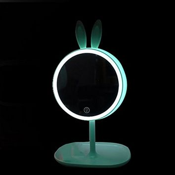 Pevor Led Makeup Mirror Vanity Table Mirror With Lights Dressing Table Mirror Lamp Charging Round Mirror Cute Rabbit Ear Princess Makeup Mirror Vanity Table Face Mirror Cosmetic Mirror (Green)