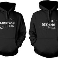 I Love You to the Moon and Back Matching Couple Hoodies