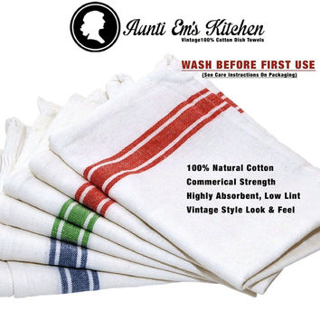 Kitchen Dish Towels with Vintage Design Decor Super Absorbent 100% Natural Cotto