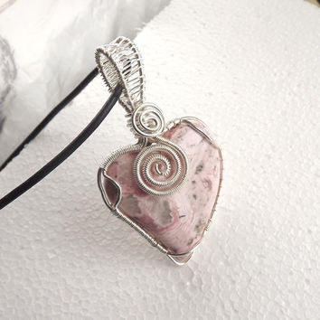 Mother's day gift. Rhodocrosite Emotional healing Pendant #Rhodocrosite heartt #Gift for Mum #Zodiac Scorpio and Leo