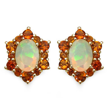 14K Yellow Gold Plated 1.52 Carat Genuine Ethiopian Opal & Citrine .925 Sterling Silver Earrings