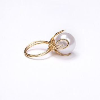 Wire Wrapped Faux Pearl Ring