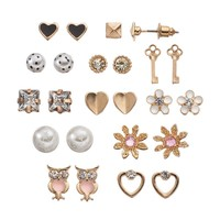 SO Flower, Heart, Owl, Square & Key Stud Earring Set (Gold Tone)