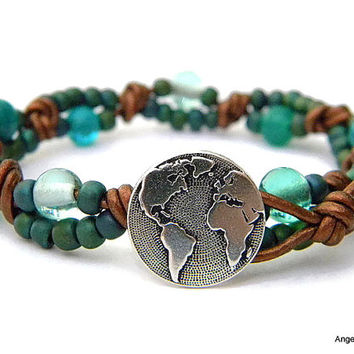 World Wrap Bracelet Entwined Leather Wrap Earth Bracelet