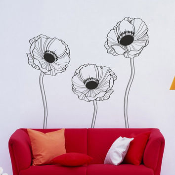 I174 Wall Decal Vinyl Sticker Art Decor Design poppy flowers pla & Shop Poppy Wall Decor on Wanelo