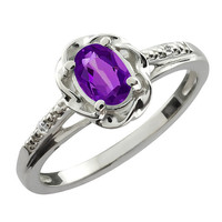Amethyst Oval Diamond Ring .925 Sterling Silver Rhodium Plated White Gold Quality