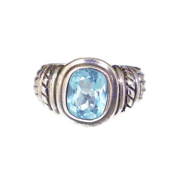 Judith Ripka Ring Blue Topaz Gemstone Sterling Silver Ribbed Rope Twist Logo Vintage Jewelry
