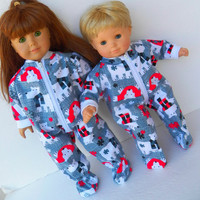 "American Girl 18""  or Bitty Baby 15"" Doll Clothes Grey Red White Polar Bear Flannel Pajamas Pjs Sleeper Zip up Feetie"