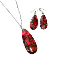 Pink and Red Mosaic Teardrop Pendant Necklace and Earring Set, Ruby Impression Jasper and Pyrite Stones