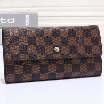 DCCKN6V LV Women Leather Zip Wallet Purse