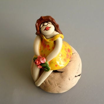 Ceramic sculpture of a young girl , Clay female figure , girl sculpture , girl in yellow dress / girl gift , girl room , gift for her