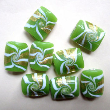 Lampwork Glass pillow beads pair 2 pendant charm flat rectangle milky opaque celery green foil swirl spiral jewelry destash