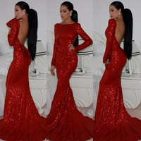 Long Sleeve Red Sequins Prom Dresses