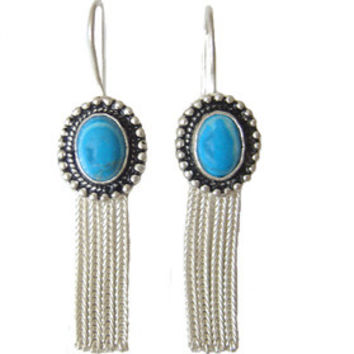 Turquoise Decorative Silver Earrings