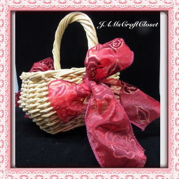 Vintage Small Rectangle Natural Wicker Flower Girl Basket-Red and Gold Bows-Wedding-Gift-Storage-Home Decor-Country Decor-Cottage Chic