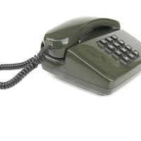 Vintage telephone phone olive green dark green table phone call me retro button telephone