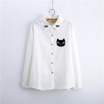 2017 Female Fashion White Blouses Turn-down Collar Casual Shirt Ladies Tops Cat Embroidery Blouse Women Plus Size 71698