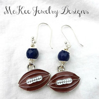 Stone, metal football charms and  Argentium silver earrings