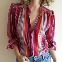 Vintage Boho Hippie Striped Pink Purple Metallic Button Up Blouse Shirt