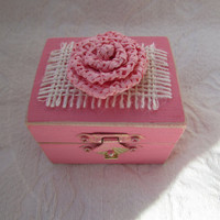 Shabby Pink Rustic Cottage CHic Wedding Ringbearer Box With Ivory Burlap and Pink Flowers