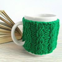 Coffee Cup Warmer – Knitted Cup Holder – Mug Cover – Coffee Mug Warmer – Coffee Cozy – Coffee Cup Holder – Green Knit Cozy - Gift for Mom