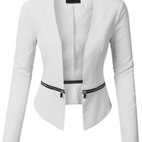 LE3NO Womens Long Sleeve Open Front Blazer Jacket with Detachable Hem (CLEARANCE)