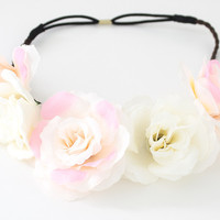 Floral Headband - Ivory Pink
