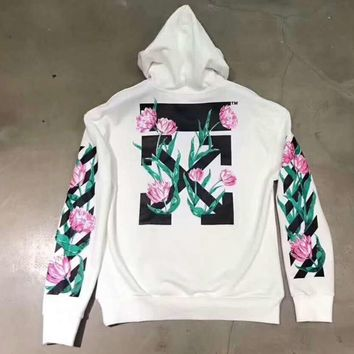 OFF-White Women Men Fashion Roses Print Hooded Top Sweater Pullover Sweatshirt G-CN-CFPFGYS