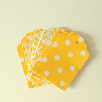 20 pc Variety Pack Mustard Yellow and White Tags, Wedding Favor Tags, Baby Shower Tags, Gift Tags, Birthday Party Favor Tags