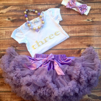 Purple three birthday outfit, girl third birthday, purple pettiskirt, one year old gold shirt, birthday shirt, 3 year old, three year old